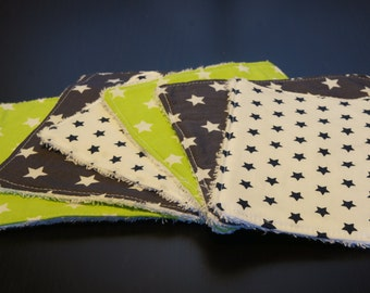 6 cotton and terry reusable cloth wipes / washcloths - mixed sizes and prints