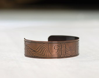 Etched Copper Cuff Bracelet (Abstract Symbols)