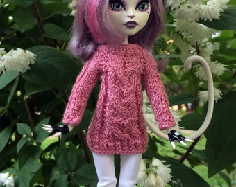 Monster High doll clothes.  Knitted radiant orchid Sweater for Monster High and EAH dolls