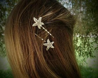 Silver Rhinestone Starfish Bobby Pins Beach Wedding Bridal Hair Accessory Silver Hair Clips Starfish Hair Pins Bridesmaid Gift