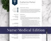 Doctor Resume Template for Word & Pages, Nurse Resume Template | Nurse CV Template | RN Resume, Doctor CV, Medical Resume