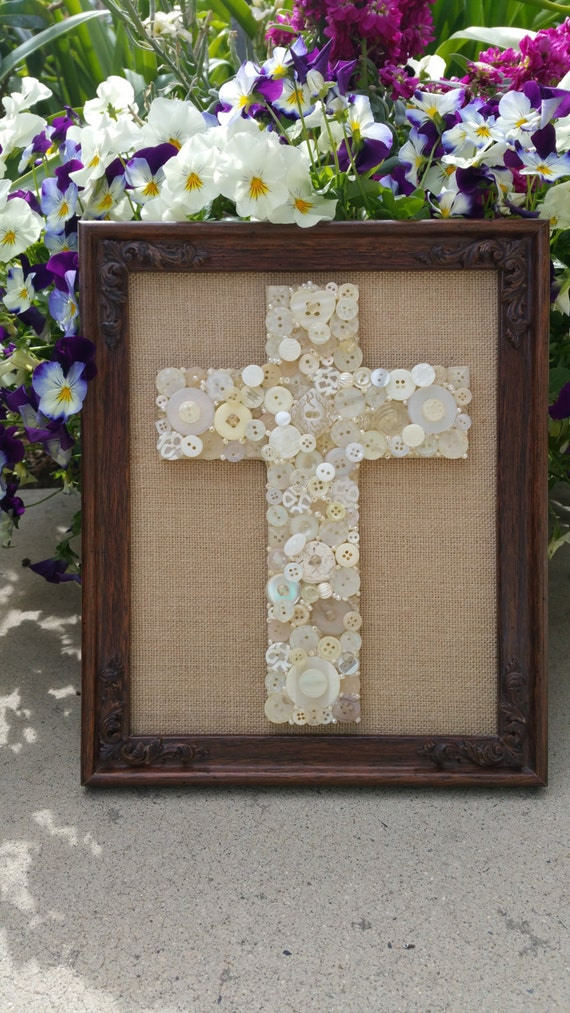 Button cross framed wall art religious by californiacrownjewel for Religious decorations for home