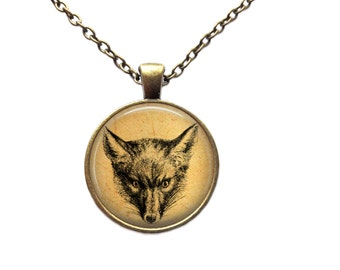 Antique jewelry Animal necklace Fox pendant