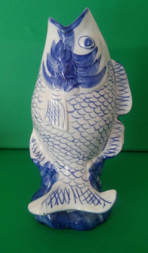 Vintage blue and white porcelain fish vase koi carp hand for Koi fish vase