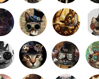 """Digital Download, 1.5"""", 1.25"""", 1 inch, 30mm, 25mm circles, Steampunk Cat, Digital Collage Sheet, Magnets, Cabochon, dcc083"""