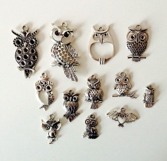 owl charm collection 12 different charms antique by ohcaprice