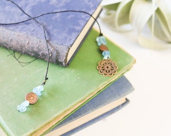 Copper bookmark with blue stone beads