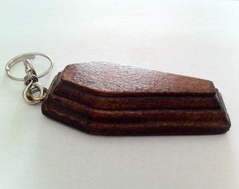 Dark Walnut wooden coffin shaped Keyring
