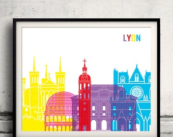 Lyon pop art skyline 8x10 in. to 12x16 in. Fine Art Print Glicee Poster Gift Illustration Pop Art Colorful Landmarks - SKU 1030