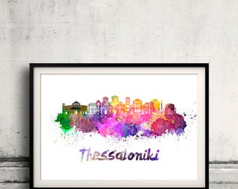 Thessaloniki skyline in watercolor over white background with name of city - Poster Wall art Illustration Print - SKU 1668