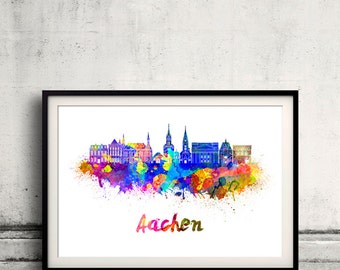 Aachen skyline in watercolor over white background with name of city - Poster Wall art Illustration Print - SKU 1889