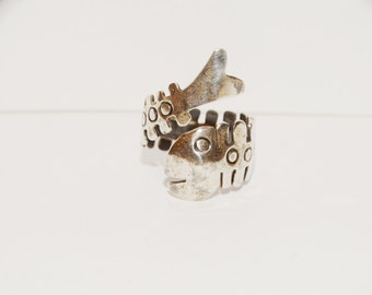 Vintage Sterling Fish Skeletal Ring Made in Mexico Adjustable.