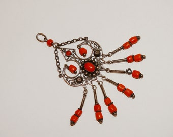 Victorian Sterling Silver Large Coral Chandelier Pendant