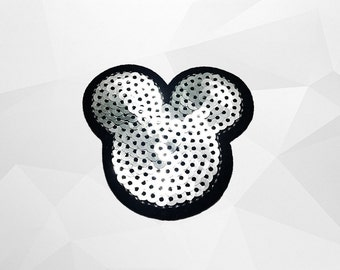 Mickey Mouse Sequin Iron on Patch (M) - Sequin Mickey Mouse Silver ,Glitter Applique Iron on Patch - Size 6.7x6.4 cm