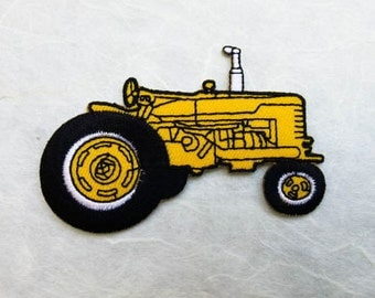 Yellow Tractor Iron on Patch( L) 8.3 x 5.3 cm - Yellow Tractor Applique Embroidered Iron on Patch