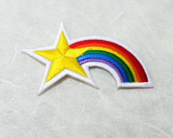 Rainbow Star Iron on Patch (L) - Rainbow Star Applique Embroidered Iron on Patch ( 7.3x4.1 cm )