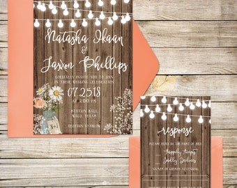 Wedding Invitation Suite, Wedding Invitations, Rustic Wedding Invitation, Wooden, Baby's Breath, Mason Jar, Coral, Lights