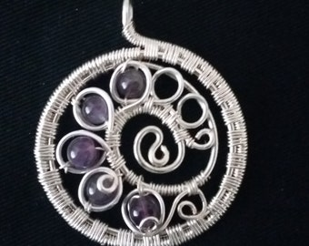 Silver Colored Wire Wrapped Pendant with Purple Semi Precious Amethyst 6mm Beads