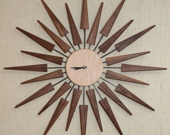 "Handmade Wooden Walnut/Maple/Carbon Fiber Sunburst 30"" Wall Clock"