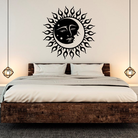 Moon Wall Decal Stickers Sun And Crescent Dual Ethnicrhetsy: Moon Bedroom Decor At Home Improvement Advice