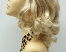 12 inch Blonde Long Bob Wig w/ Bangs. Curly Wig. [44-236-Jen-613]
