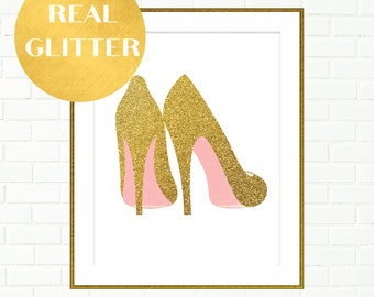 Gold Shoes Print, Pink Gold Wall Art, Vanity Wall Decor Prints, High Heels Illustration, Gold Glitter Art prints, Fashion Art Prints, Girlie