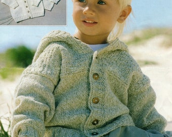 Baby Toddler Child Cardigan Knitting Pattern - Birth to 6 years - DK yarn