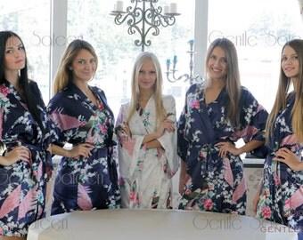 Bridesmaid Robes, Set of 5 Bridesmaid Satin Robes, Kimono Robe, Fast Shipping from New York, Regular and Plus Size Robe