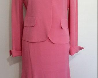 Pink suit, M, summer suit, MOB suit, rayon suit, pink skirt, pink blazer, pink dress, English rose dress, rose pink suit