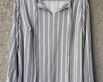 White and navy striped blouse