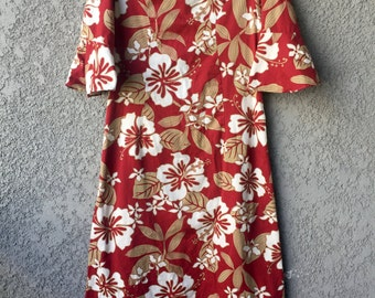 Red floral hawaiian maxi dress
