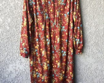 Brown floral sixties dress
