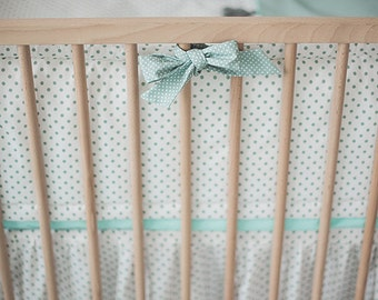 Mint baby nursery crib bumpers – baby bedding – crib guard – mint crib bumper