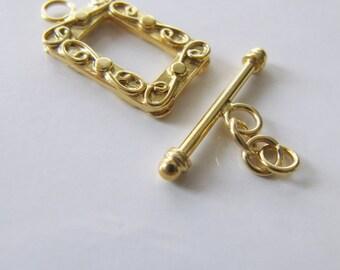 Fermoir en vermeil avec chainette de rallonge, carré rectangulaire orné or argent haut de gamme Bali fermoir