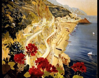 Amalfi, Vintage Italian Travel Poster Reproduction Rolled CANVAS PRINT 24x36 in.