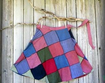 patchwork skirt, Grateful Dead hippie wrap skirt, mori girl, Festival, bluegrass YMSB Deadhead Phish SCI hillbilly, country kinfolk SALE