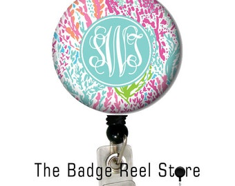 Personalized Badge Reel, Monogram Badge Reel, Monogram ID Badge, Monogram Retractable Badge Reel, Name Tag - Preppy Coral