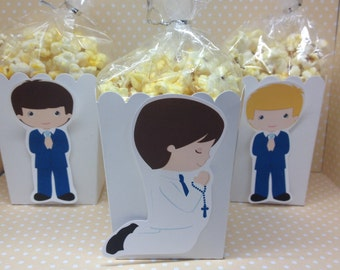 Boys First Communion Party Popcorn or Favor Boxes - set of 10