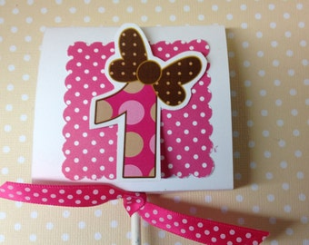 Polka Dot Number Age Party Lollipop Favors - Set of 10