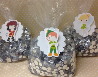 Peter Pan, Neverland, Captain Hook, Tinkerbell Party Bags with Tags