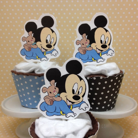 Baby mickey mouse party or baby shower cupcake topper for Baby mickey decoration ideas