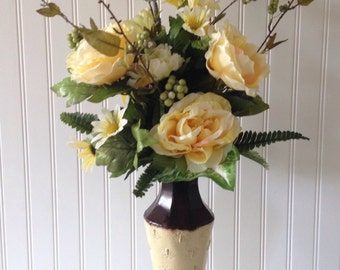 large flower bouquet yellow flower arrangement in tin vase flower arrangement centerpiece mothers day gift anniversary gift - Silk Arrangements For Home Decor