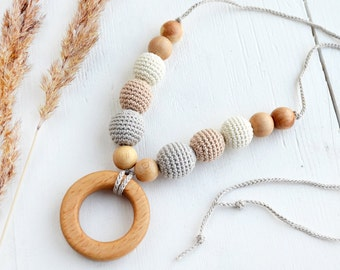 Nursing Necklace with Wooden Ring - Grey Cream Beige Teething Necklace - Breastfeeding necklace - Mommy necklace - Baby Shower  Gift