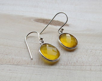 Yellow Chalcedony Sterling Silver Dangle Earrings, Gemstone Jewelry, 925 Sterling Silver Earring, Yellow Earrings
