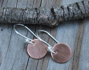 Minimalist Earrings, Petite Drop Earrings, Small Copper Disk Earrings, Copper Earrings