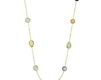 Gemstone Necklace 14k Yellow Gold - Gemstone Necklaces for Women - Citrine, Smoky Quartz, Lemone Quartz, Green Amethyst, Blue Topaz - Bezel