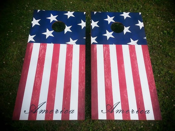 American Flag Corn Hole Boards Bean Bag Toss Game
