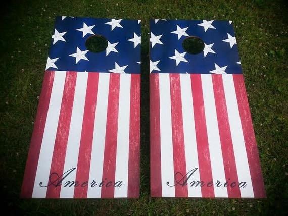 American Flag Corn Hole Boards Bean Bag Toss Game