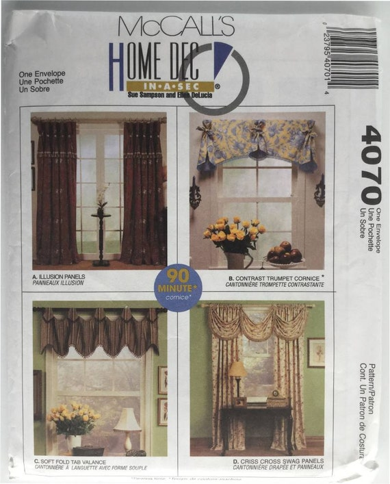 McCalls 4070 Sewing Pattern For Window Treatments Includes