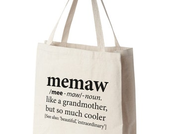 Grandmother Bag | Tote for Memaw, Nonnie, Mimi, Honey, Abuela, Gigi, Yaya | Christmas Gift for Grandmother | Tote